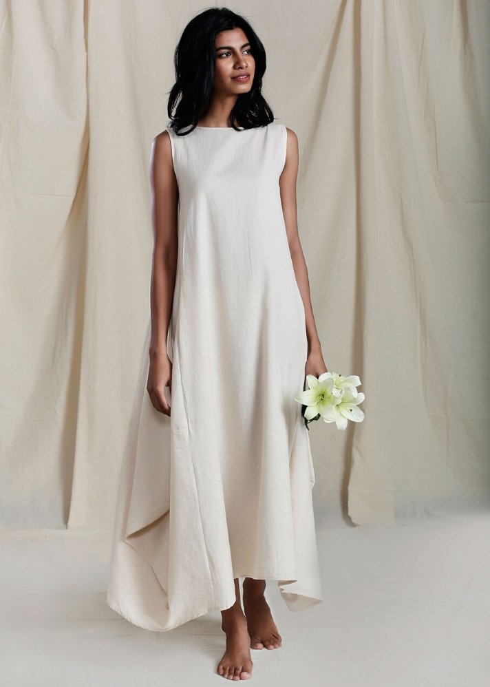 Cowl Dress - White - Ethical made fashion - onlyethikal
