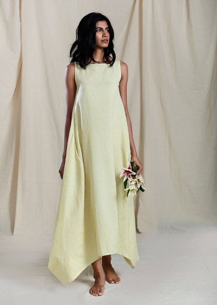 Cowl Dress - Yellow - Ethical made fashion - onlyethikal