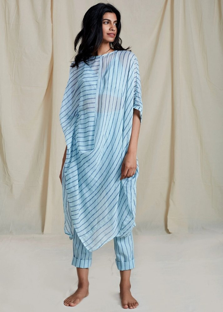 Cowl Tunic Set - Blue - Ethical made fashion - onlyethikal