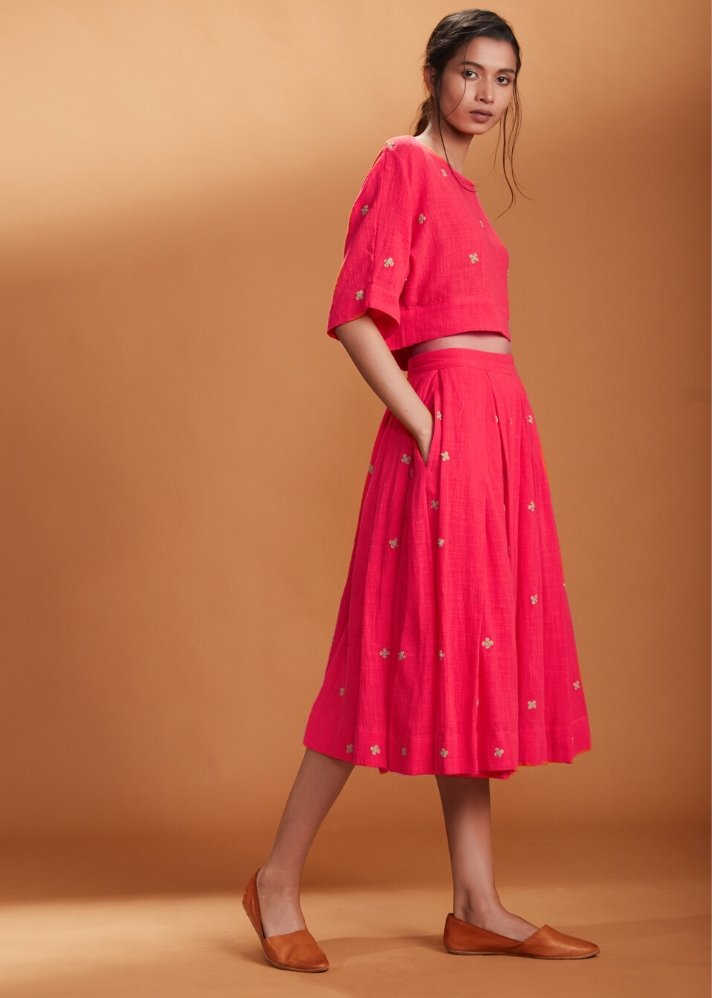 Crop Top and Skirt Set - Coral - Ethical made fashion - onlyethikal