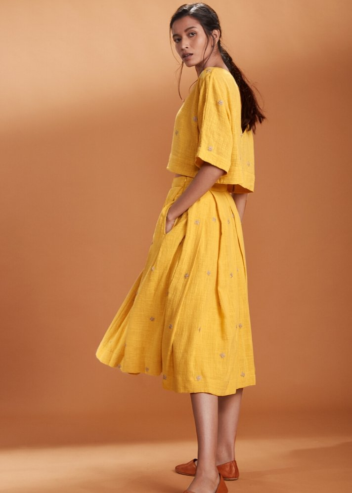 Crop Top and Skirt Set - Yellow - Ethical made fashion - onlyethikal