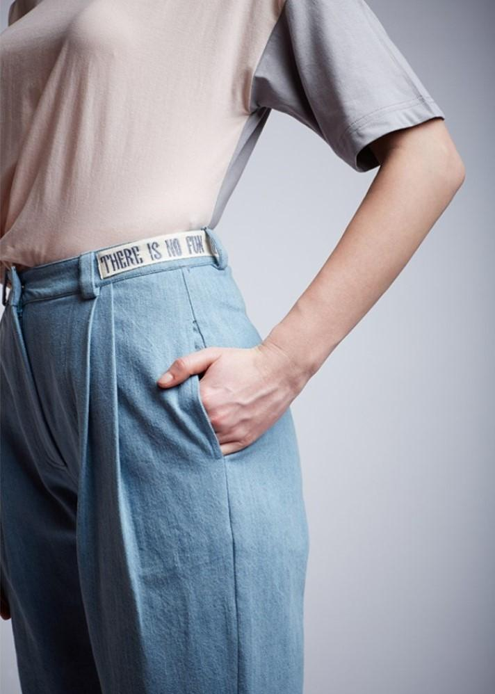 Denim Pleated Pants - Ethical made fashion - onlyethikal