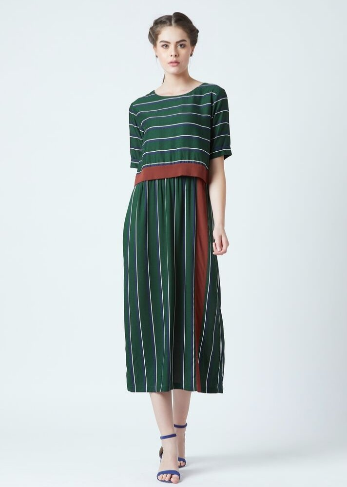 Dora green stripe dress - Ethical made fashion - onlyethikal