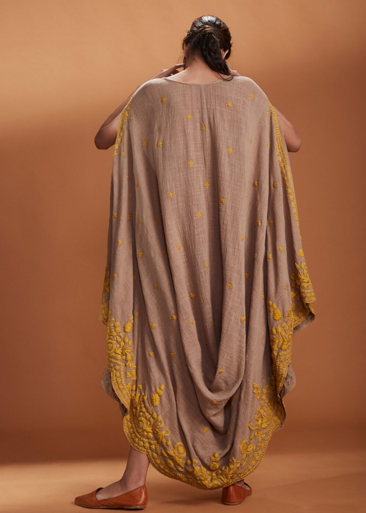 Embroidered Cowl dress Kaftan style - Brown - onlyethikal
