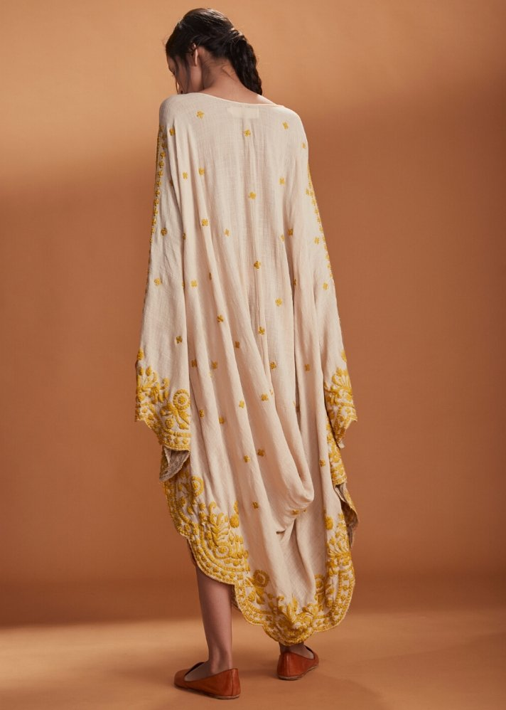 Embroidered Cowl dress Kaftan style - Ivory - Ethical made fashion - onlyethikal