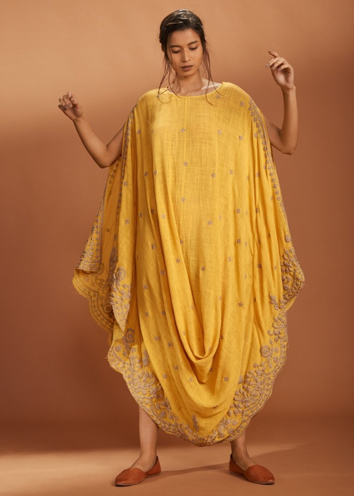 Embroidered Cowl dress Kaftan style - Yellow - Ethical made fashion - onlyethikal