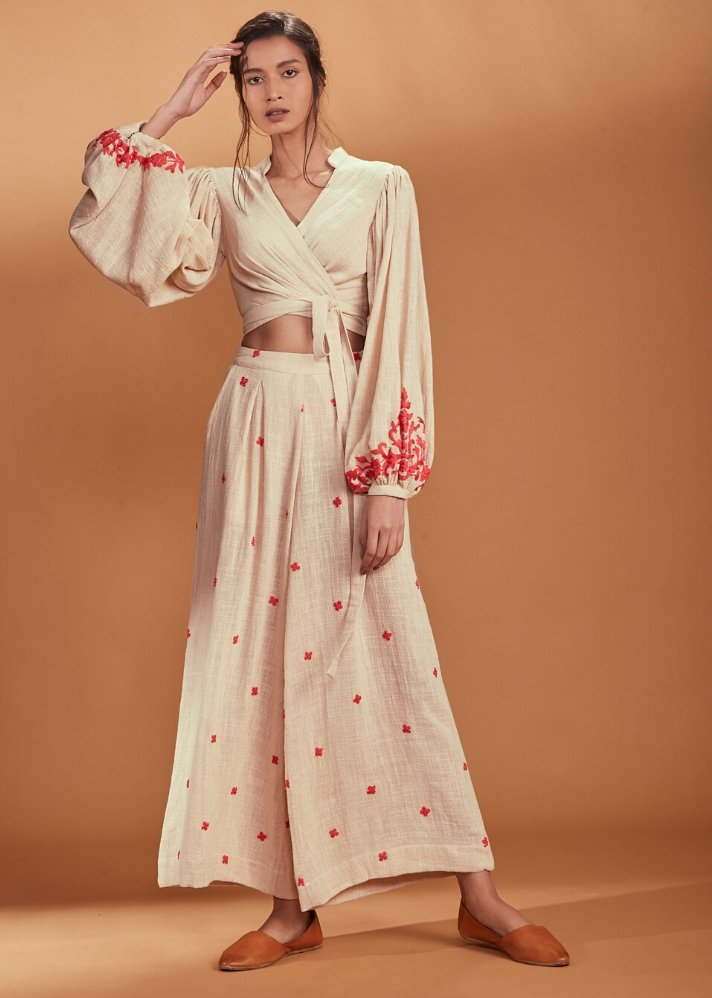 Embroidered Culotte Pant Coral - Ivory - Ethical made fashion - onlyethikal
