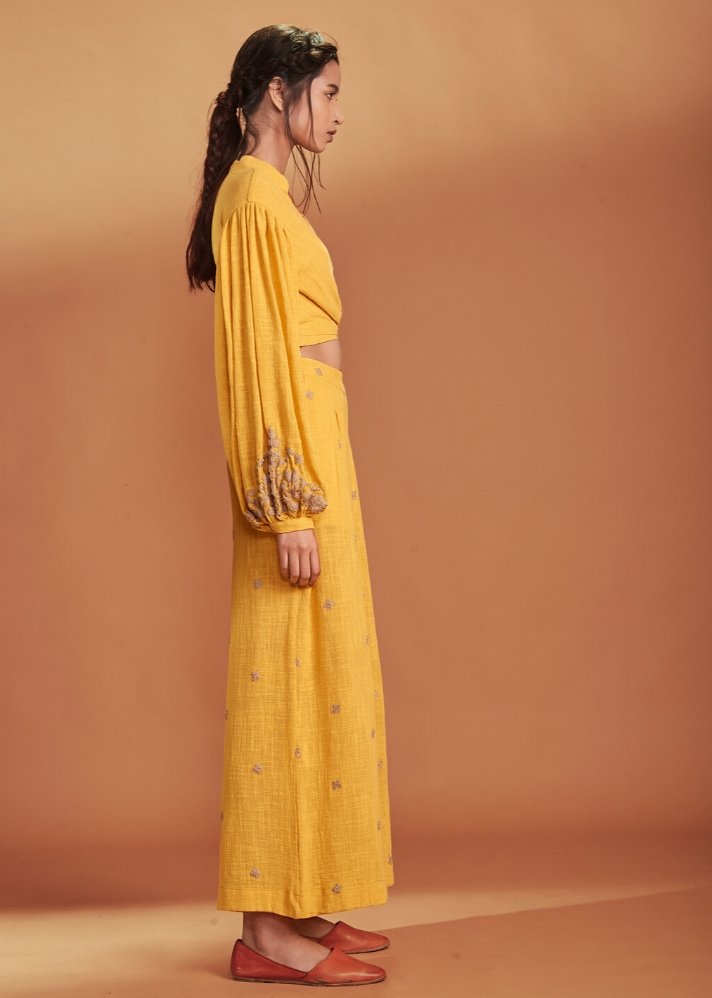 Embroidered Culotte Pant Coral - Yellow - Ethical made fashion - onlyethikal