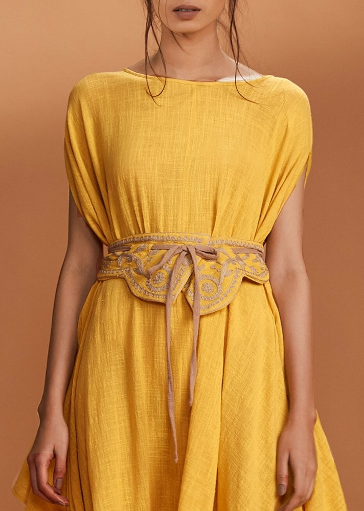 Embroidered High waist belt - Yellow - onlyethikal