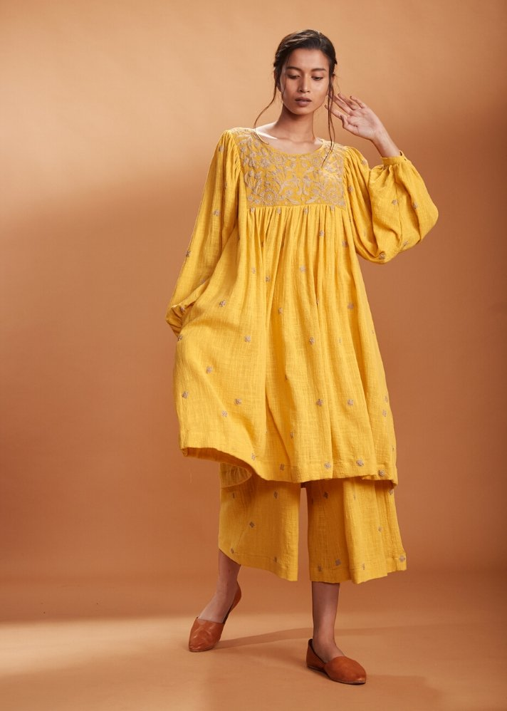 Embroidered top and pants set - Yellow - onlyethikal