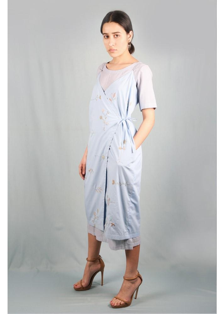 Embroidered Wrap Dress - Ethical made fashion - onlyethikal