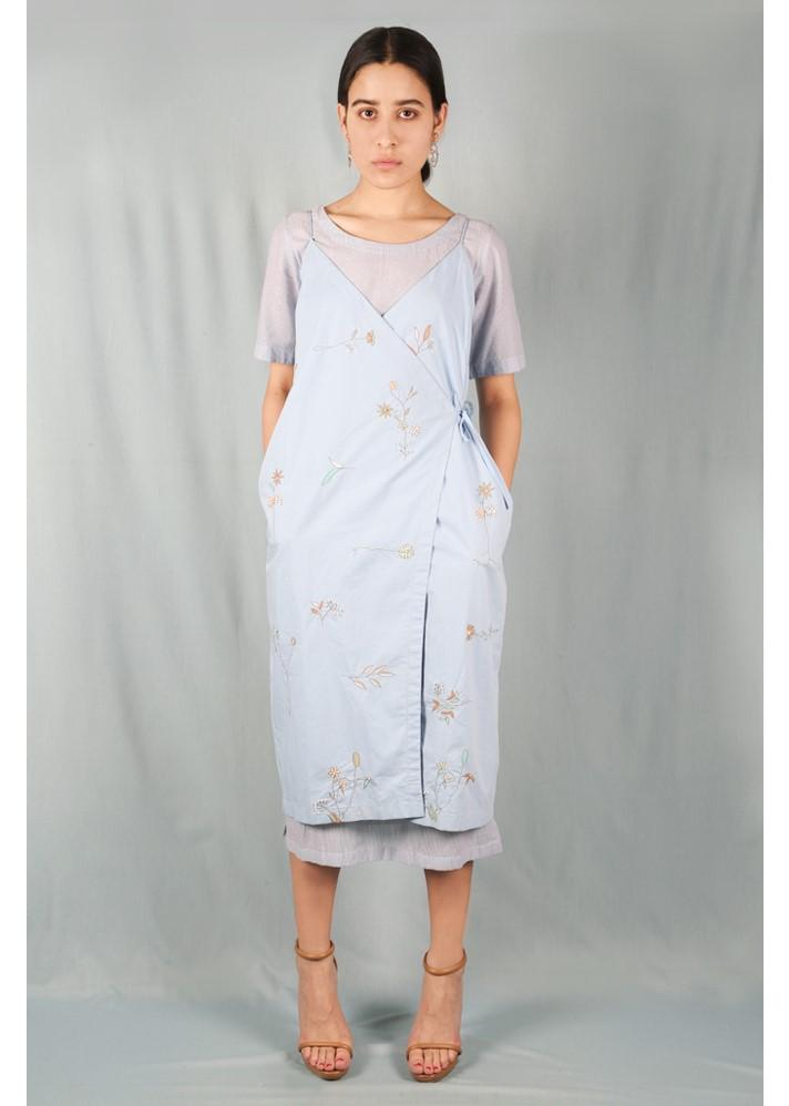 Embroidered Wrap Dress - onlyethikal