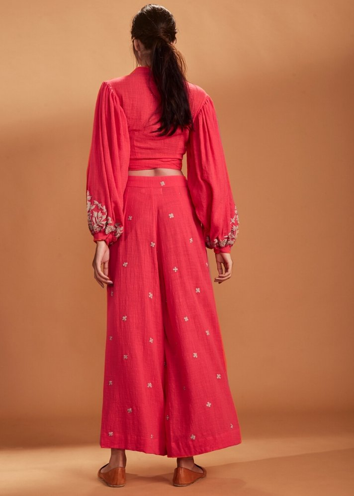 Embroidery Culotte Pant Coral - Ethical made fashion - onlyethikal