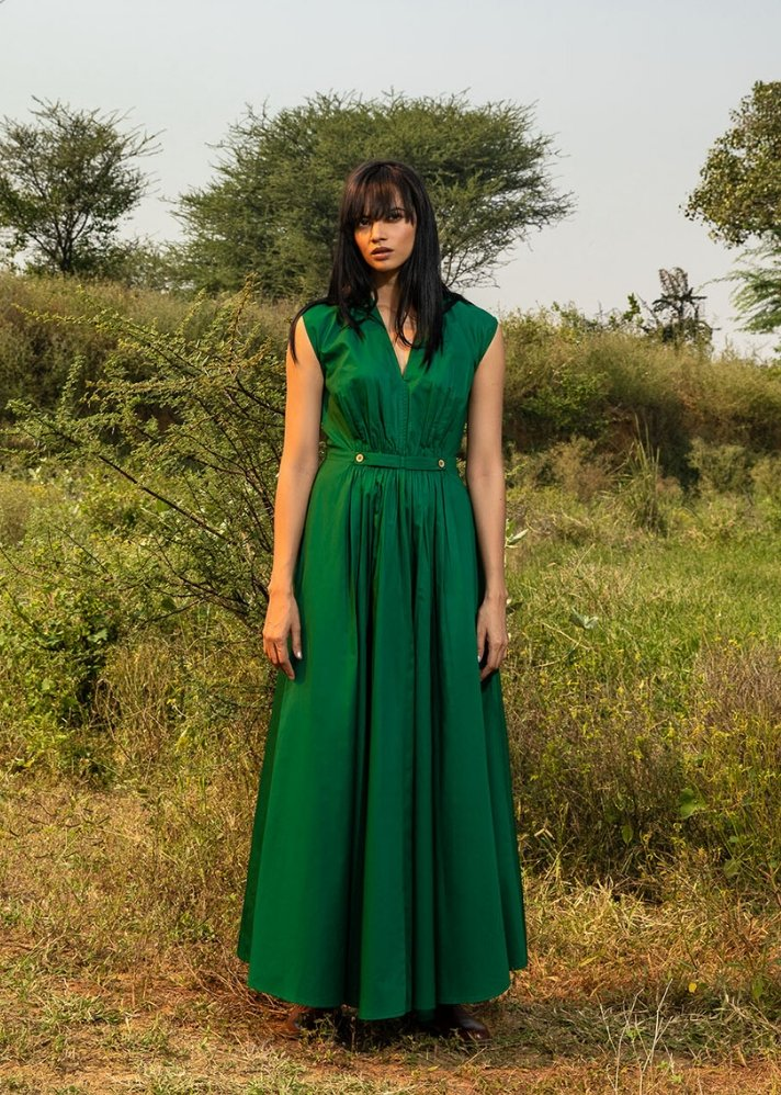 Emerald gathered dress - Ethical made fashion - onlyethikal