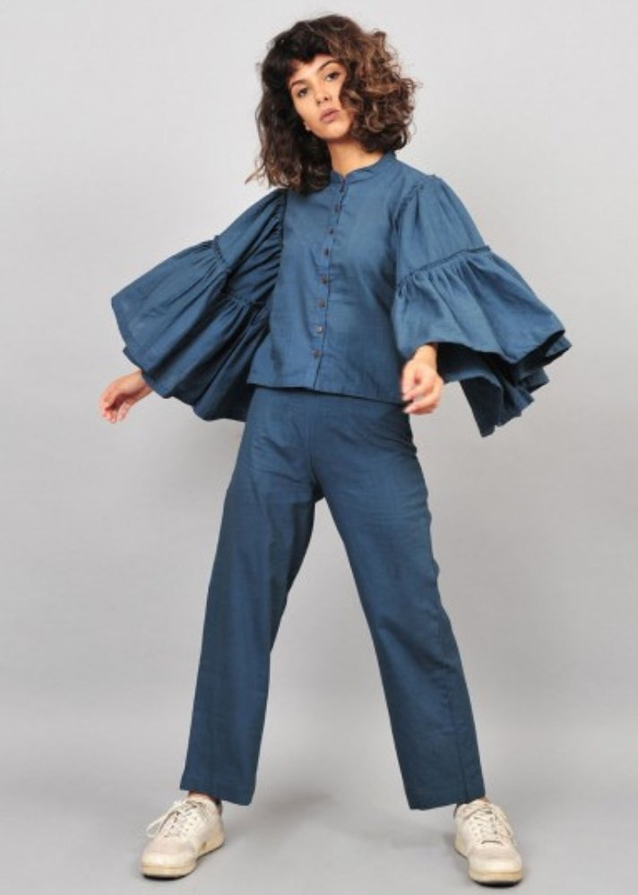 Flare sleeves top blue - Ethical made fashion - onlyethikal
