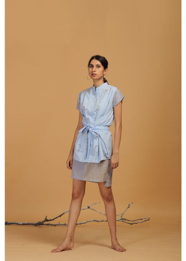 Front Knot Shirt Dress with Embroidery - Ethical made fashion - onlyethikal