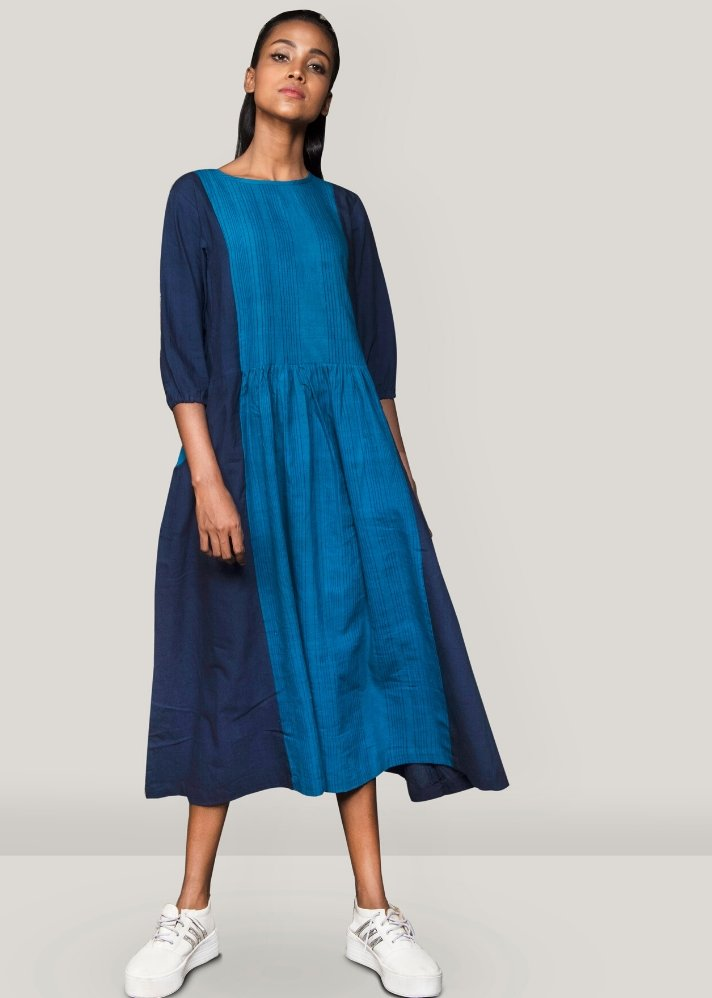 Ready to ship! Front pleated dress - Ethical made fashion - onlyethikal