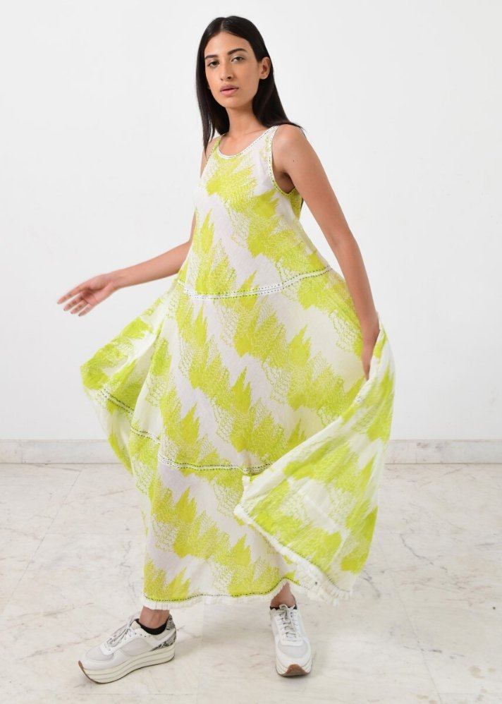 Geo green maxi dress - Ethical made fashion - onlyethikal