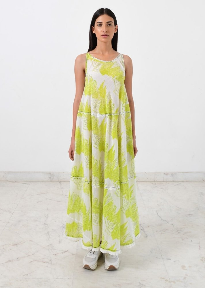 Ready to ship! Geo green maxi dress - Ethical made fashion - onlyethikal