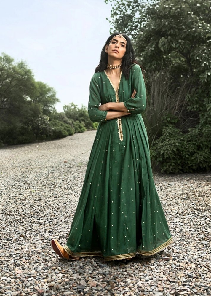 Green Ornamental dress - Ethical made fashion - onlyethikal