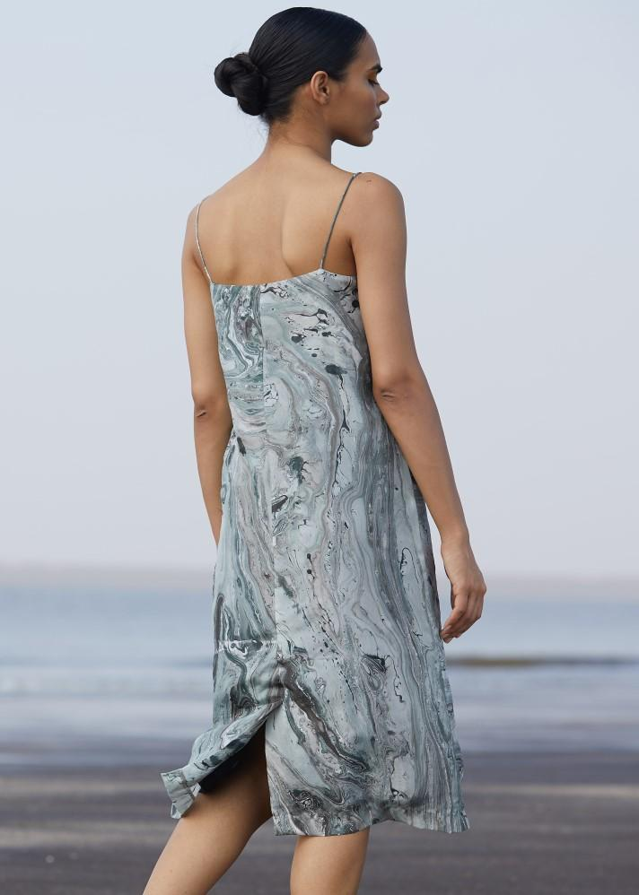 Hand marbled silk dress - Ethical made fashion - onlyethikal