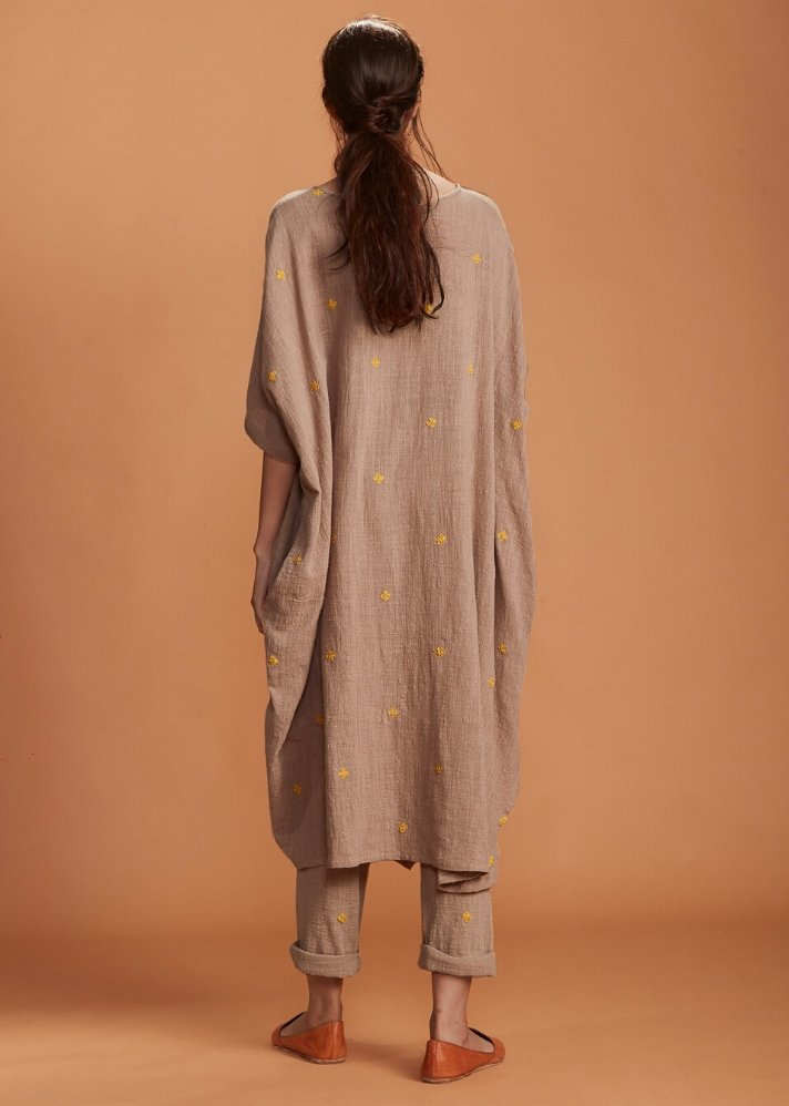 Handloom Cowl Tunic Set - Brown - Ethical made fashion - onlyethikal