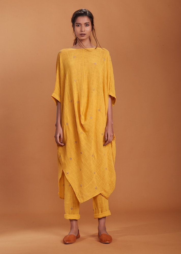 Handloom Cowl Tunic Set - Yellow - Ethical made fashion - onlyethikal