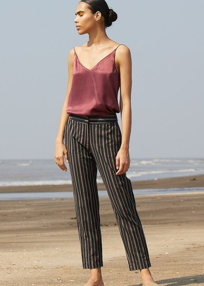 Handwoven Cotton Striped pants - Ethical made fashion - onlyethikal