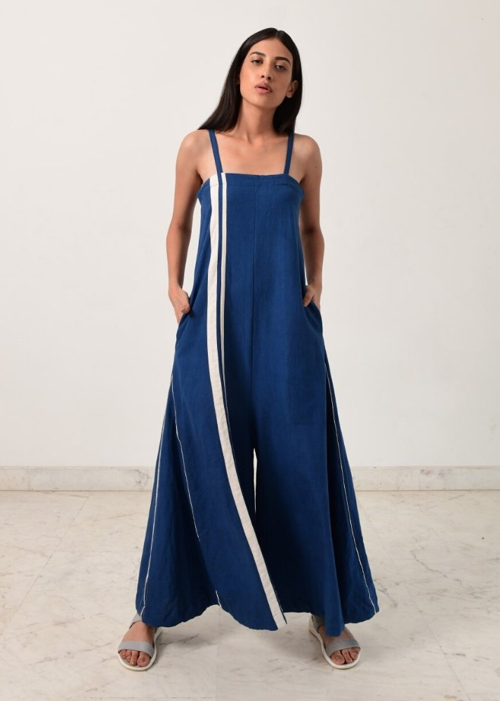 Indigo strappy jumpsuit - Ethical made fashion - onlyethikal