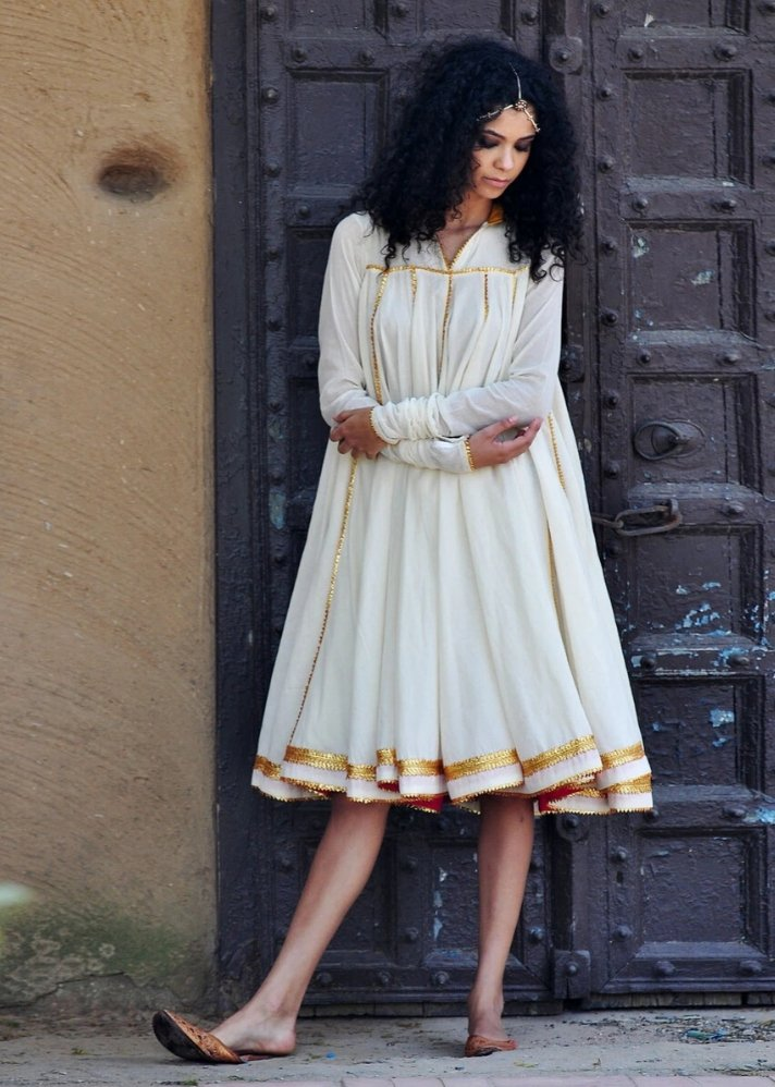 Ready to ship! Ivory Ornamental dress - Ethical made fashion - onlyethikal