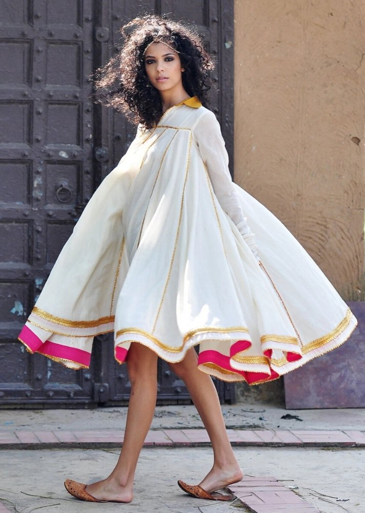 Ivory Ornamental dress - Ethical made fashion - onlyethikal