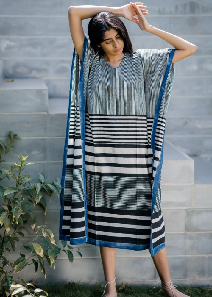 Ready to ship! Kaftan Dress - Black Stripe Gradation - Ethical made fashion - onlyethikal