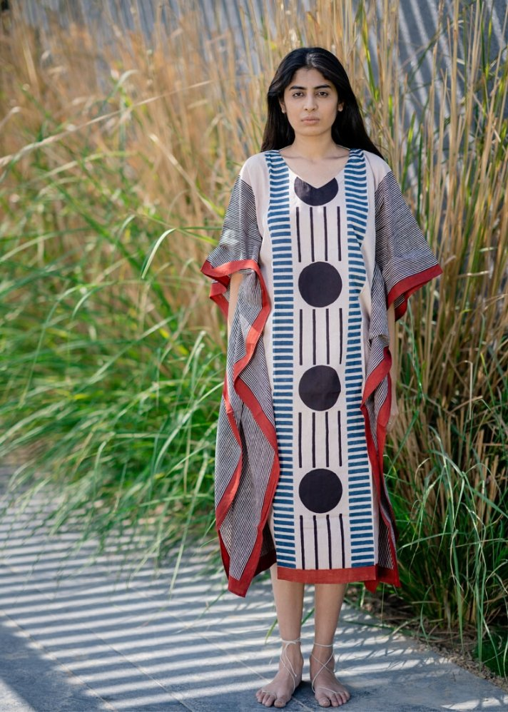 Kaftan Dress - Centre Circles - Ethical made fashion - onlyethikal