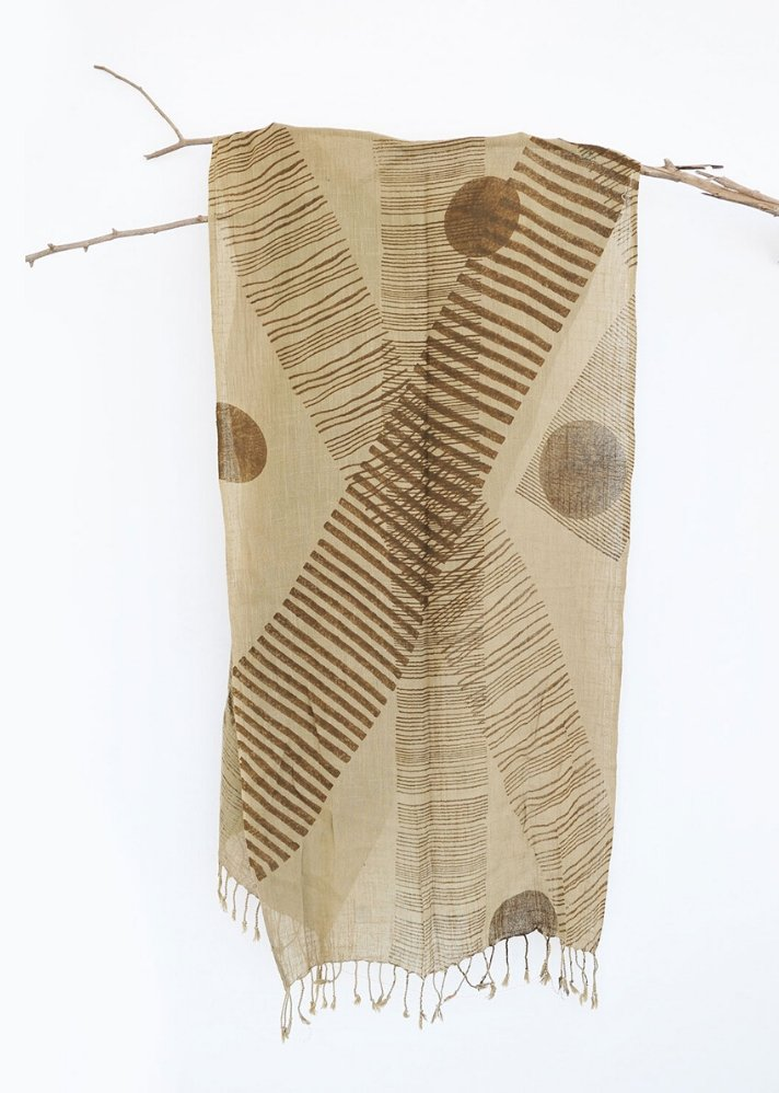 Khaki Stripe Scarf - Ethical made fashion - onlyethikal