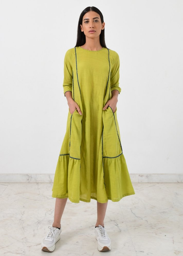 Lime green panelled dress - Ethical made fashion - onlyethikal