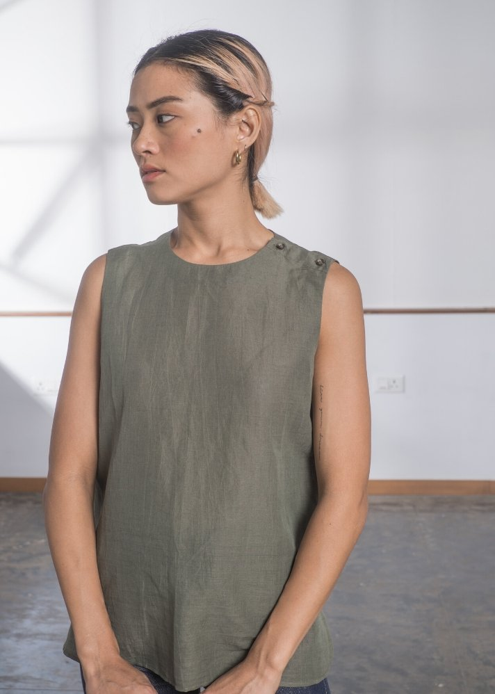 Linen Sleeveless top - Olive - Ethical made fashion - onlyethikal