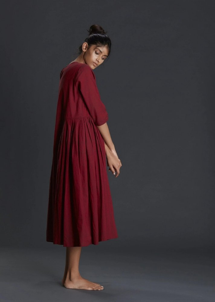 Maroon Dress with side pleats - Ethical made fashion - onlyethikal