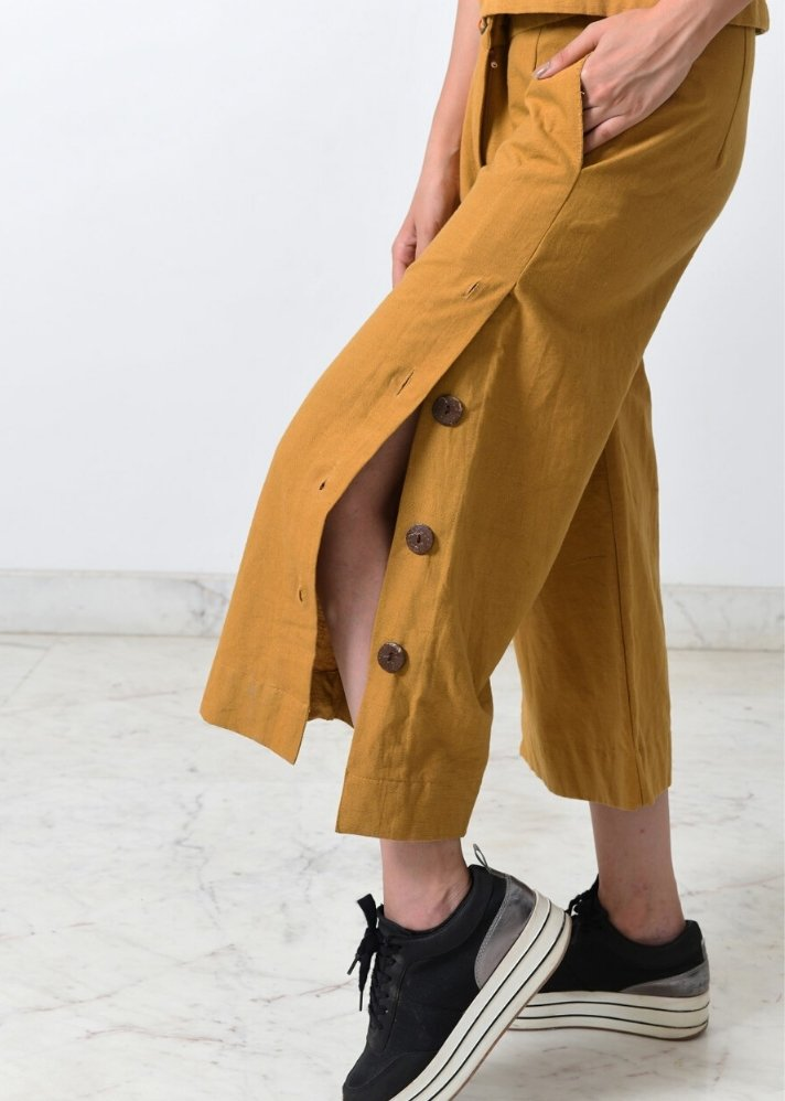 Mustard khadi Co-ord set - Ethical made fashion - onlyethikal