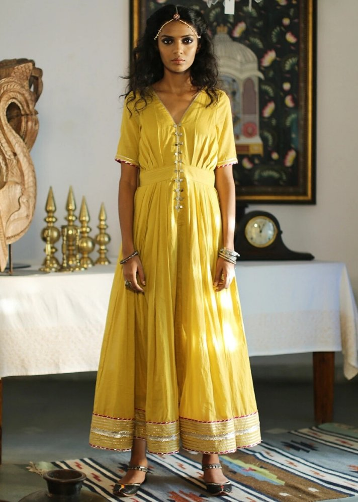 Ornamental yellow maxi dress - onlyethikal