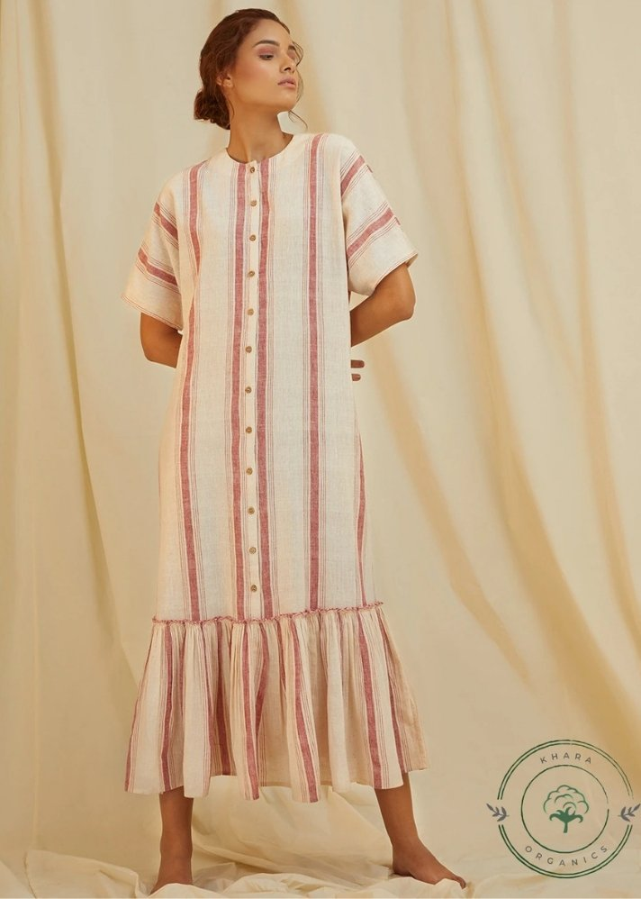 Pink stripe long dress - Ethical made fashion - onlyethikal