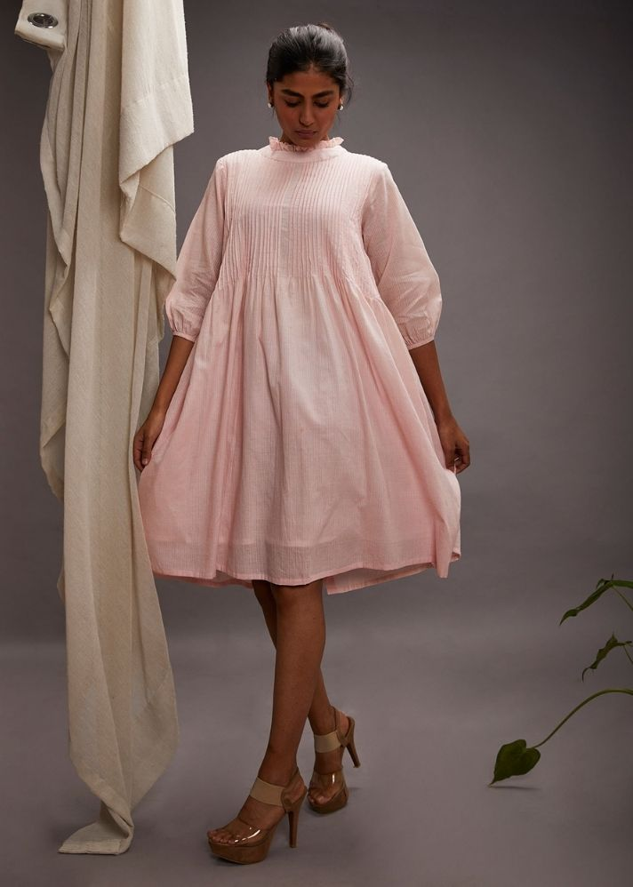 Pretty Pintuck Pink Dress in Organic Cotton - onlyethikal
