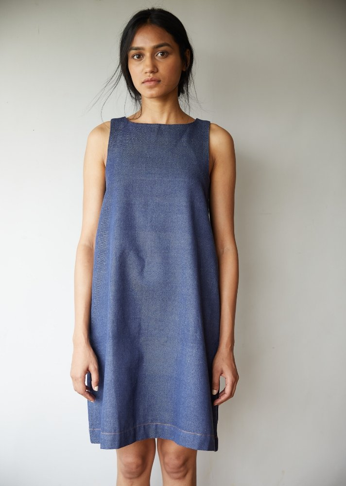 Recycled denim A line dress - Ethical made fashion - onlyethikal