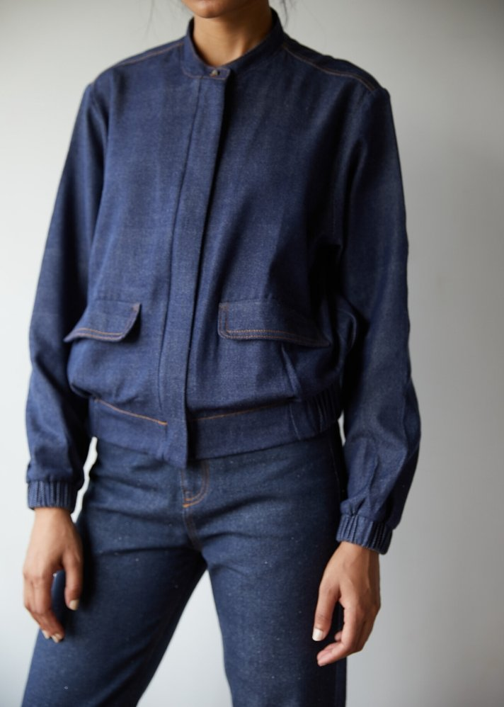 Recycled Denim bomber jacket - Ethical made fashion - onlyethikal