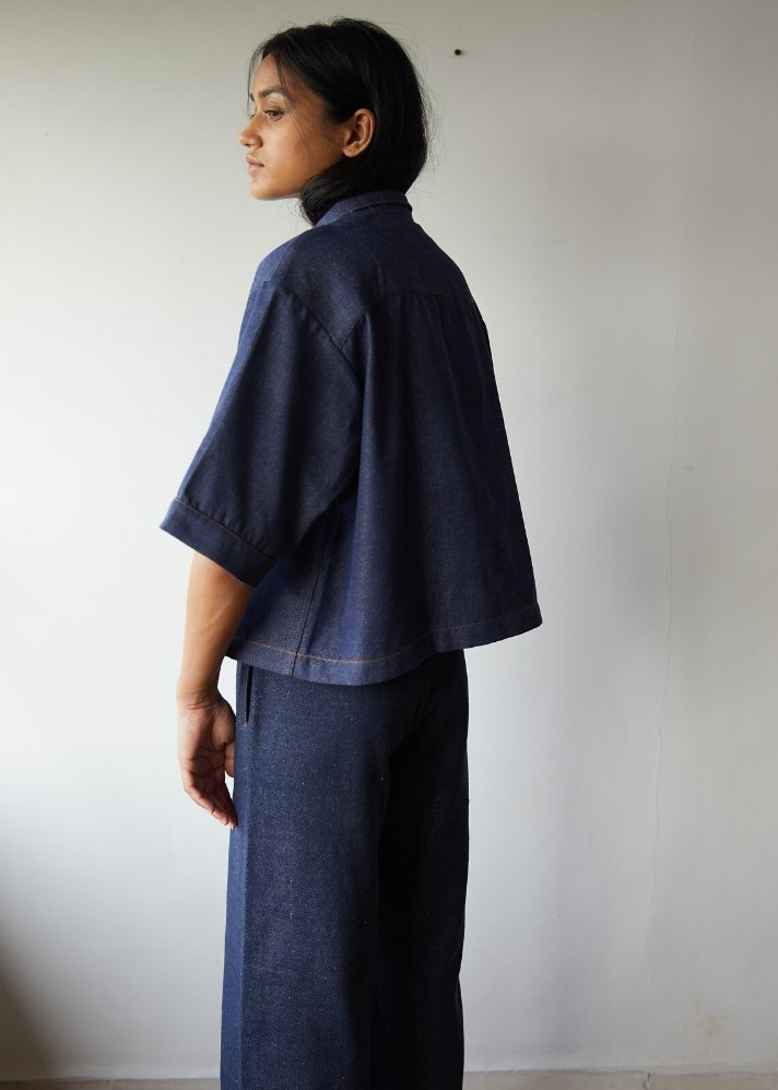 Recycled Denim boxy cropped shirt - Ethical made fashion - onlyethikal