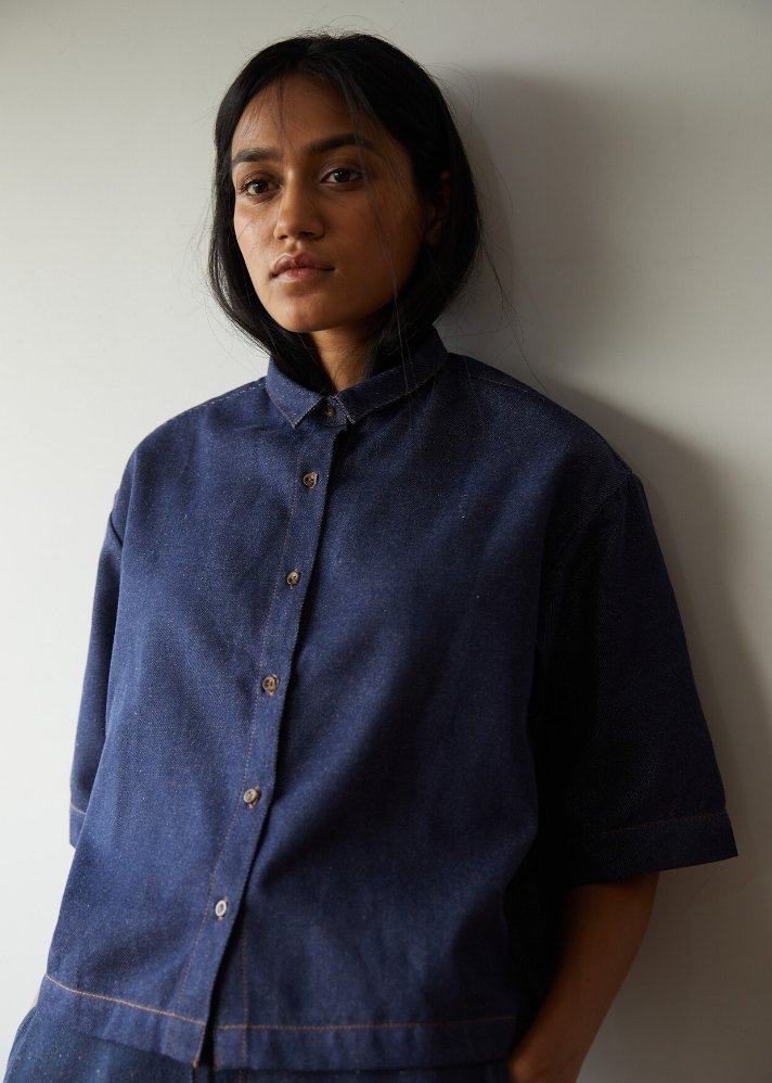 Recycled Denim boxy cropped shirt - onlyethikal