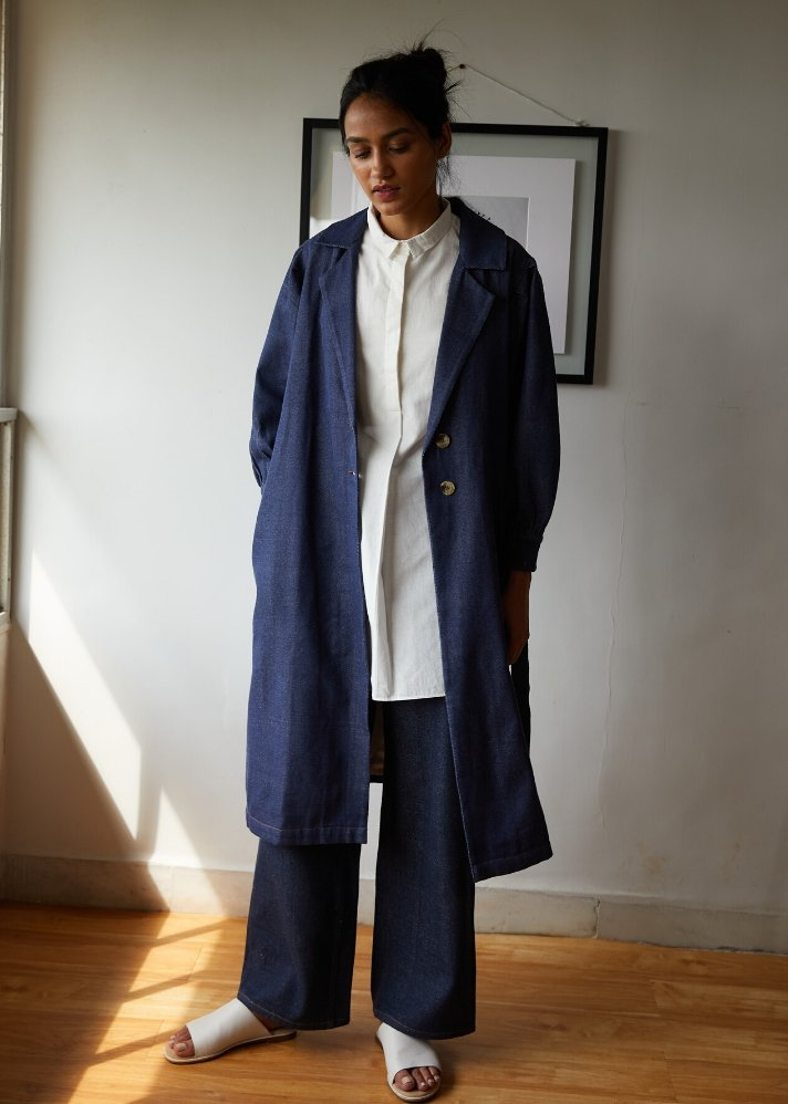 Recycled Denim classic trench - Ethical made fashion - onlyethikal