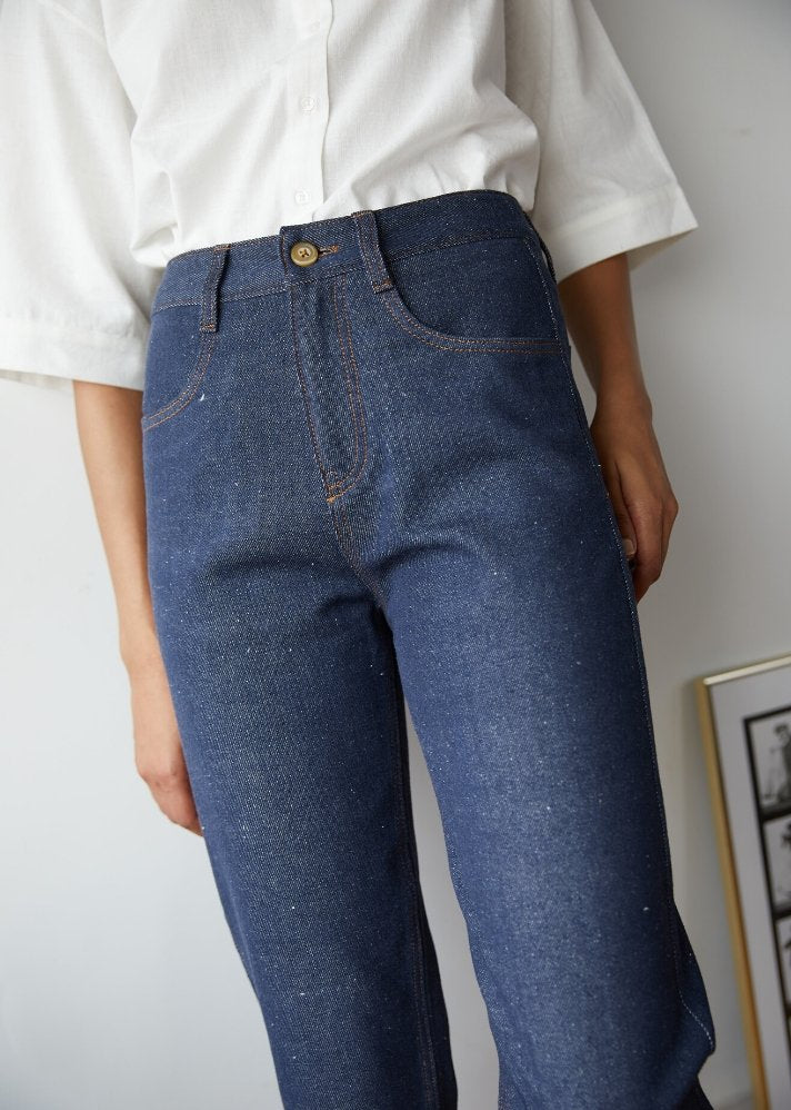 Recycled Denim high rise cropped pants - onlyethikal