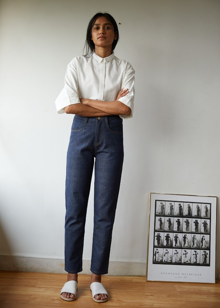 Recycled Denim high rise cropped pants - Ethical made fashion - onlyethikal