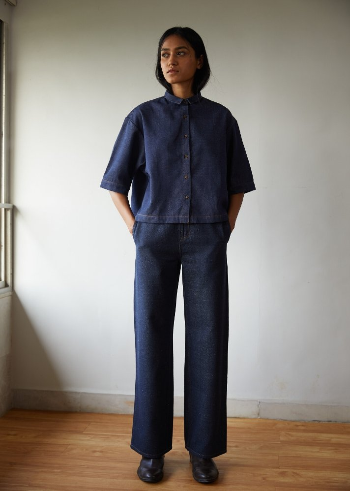 Recycled Denim high rise pants - Ethical made fashion - onlyethikal