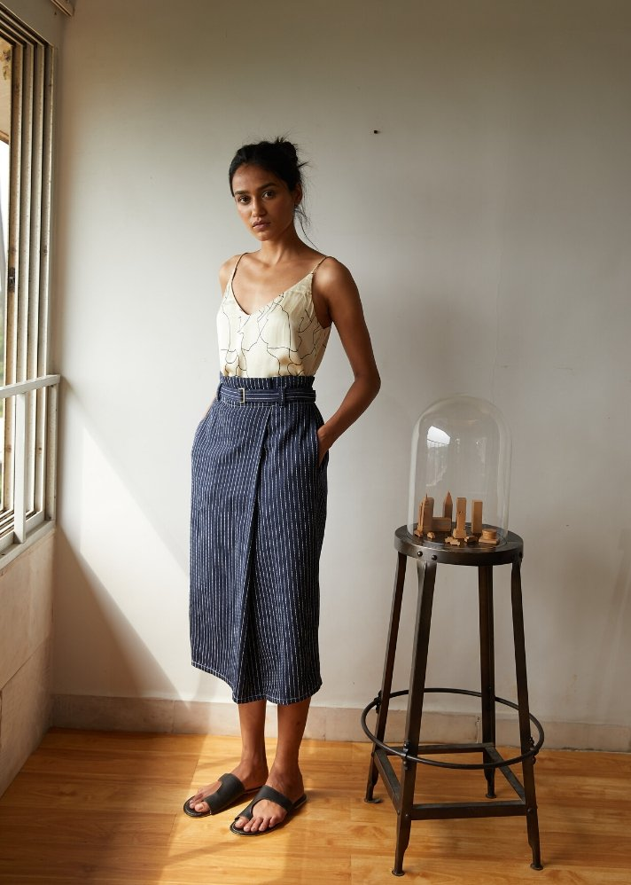 Recycled Denim mid weight skirt - Ethical made fashion - onlyethikal